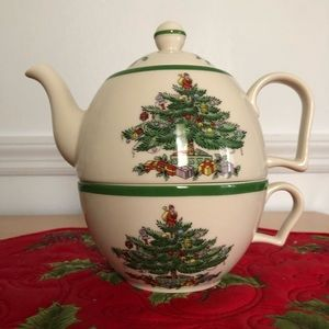 Spode one cup teapot Christmas tree pattern